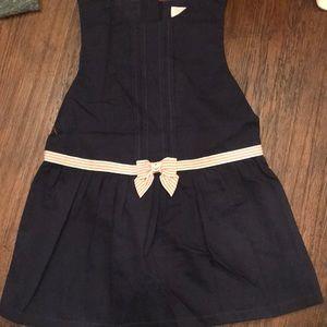 Janie & Jack navy dress with light pink ribbon